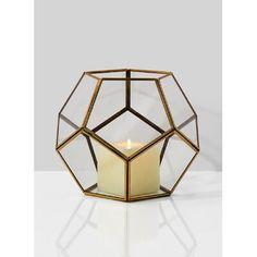 Wrought Studio Honeycomb Glass and Metal Lantern Size: