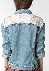 Urban Renewal Oversized Lace Inset Denim Jacket from Urban Outfitters. Saved to Epic Wishlist. Denim And Lace, Lace Jeans, Urban Outfitters, Def Not, Blue Jean Jacket, Lace Inset, Diy Clothing, Sewing Clothes, Denim Shirt