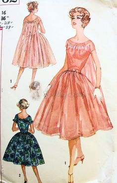 1950s Lovely Evening Cocktail Party Dress Pattern Full Skirted Floating Watteau Back Panel Version Simplicity 2762 Bust 34