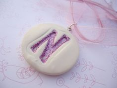 polymer clay letter pendant