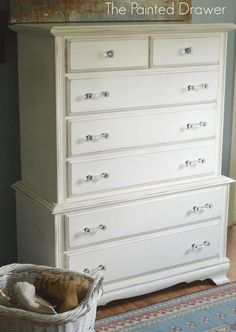 boring to glam chest of drawers, chalk paint, painted furniture White Painted Dressers, Painted Bedroom Furniture, Painted Drawers, Kitchen Furniture, Furniture Ideas, Grey Furniture, Repurposed Furniture, Furniture Makeover, Chest Of Drawers Makeover