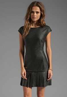 Shop for Catherine Malandrino Anjali Basket Weave Leather and Ponte Dress in Noir & Noir at REVOLVE. What Is Fashion, Girl Fashion, Fashion Dresses, Cool Style, My Style, Catherine Malandrino, Fabulous Dresses, Leather Dresses, Edgy Outfits