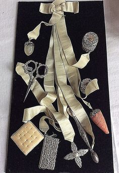 ANTIQUE STERLING SILVER CHATELAINE - SEWING - 8 PIECES RIBBON UNGER BROTHERS