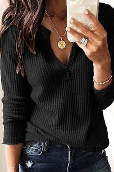 5c8d6714fda6e v-neck long sleeve plian t-shirt Shirt Style
