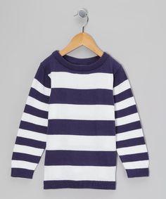 Look what I found on #zulily! Midnight Blue & White Stripe Sweatshirt - Toddler & Boys by Klever Kids #zulilyfinds