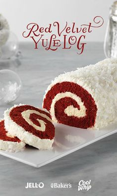 Delightful presentation meets the always-popular red velvet yumminess in this fun holiday centerpiece. Red Velvet Yule Log is a showstopper. Get started with JELL-O Cheesecake Flavor Instant Pudding, COOL WHIP Whipped Topping, BAKER'S ANGEL FLAKE Coconut, Köstliche Desserts, Holiday Baking, Christmas Desserts, Christmas Treats, Christmas Baking, Holiday Treats, Holiday Recipes, Dessert Recipes, Christmas Recipes