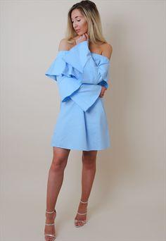 BLUE OFF SHOULDER RUFFLE DRESS-PRETTY LAVISH