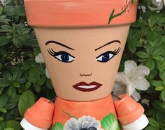 Clay Pot People Planters, Flower Pot People, Garden Pots, Garden Statue, Gift for her, Garden Decor, Garden Friends