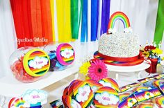 Colorful rainbow birthday party! See more party ideas at CatchMyParty.com!