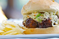 What's the take-away message from this BBQ Lentil Meatball Sandwich with Sweet Miso Coleslaw? Who says vegans can't have it all! It's either that or the longer the recipe title, the better the meal. I think I'll go with the first one.