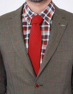 This plain red tie from Gibson London has a patterned knit texture and contrast silk trim to the underside of the neck Knit Tie, Blazer, Clothing, Red, Jackets, Fashion, Outfits, Down Jackets, Moda