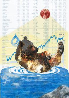 Collage » Schwimmen im Geld «  20 x 30 cm | Source: Acryl Scherenschnitt simonex/2015, climate - our future, Kümmerly+Frey 1990, SZ Nr.154/6.Juli 20015 - Böresenwerte, gebrauchte Geschenkpapier-Goldfolie Medium: Reprofotoabzug