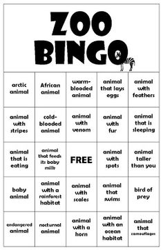 Did you know that there's more to do at the zoo than just look at the animals? Why not play a game of Zoo BINGO while you're there!
