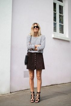 Fall 2015 trends that work for warm weather climates too: a suede a-line skirt and striped shirt. Click for more!