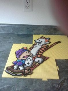 Perler Calvin and Hobbes by *rushtalion on deviantART This is awesome