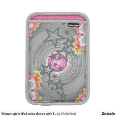 Women girls iPad mini sleeve with fractal art