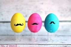 """5. Mustache Easter Egg ~ I """"mustache"""" you how you are dying your Easter eggs this year? I couldn't resist. {snicker} Add some whimsy and fun with these vinyl adhesive cut mustaches to your dyed eggs this Easter."""