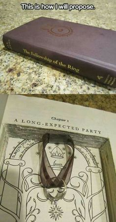 Lord of the Rings proposal....I know it's supposed to be romantic...But I'm having a mini freak out over his/her desecration of the book!!!! He/She couldn't have faked the cover on a blank journal?