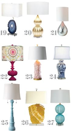 19) Agate Table Lamp with Nightlight - Shades of Light 20) Lydia Gold - Made Goods 21) Glass Jug Lamp - West Elm 22) Modern Spindle Lamp Base - Shades of Light 23) Rock Crystal Lamp - Shades of Light 24) Square Vase Blue and White Lamp - Shades of Light 25) Turquoise Lamp - Dunes & Duchess 26) Miles Lamp - Jan Showers Collection 27) Contemporary Murano Robin's Egg Blue Lamp - Swank