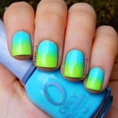 Summer nails by polishcandies. Used: Orly Frisky and Lime Crime Pastelchio, topped with CG Fairy Dust.