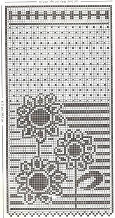 Kira scheme crochet: Scheme crochet no. Filet Crochet Charts, Crochet Diagram, Knitting Charts, Crochet Motif, Crochet Doilies, Knit Crochet, Crochet Patterns, Crochet Borders, Crochet Squares