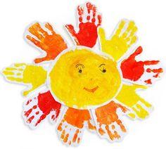 Atividades para maternal, creche e berçário: Sol com carimbo das mãozinhas