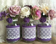 Rustic Burlap and Lace Covered Mason Jar Vases Wedding Decor, Bridal Shower, Engagement, Anniversary Party Decor - New Wedding Decorations Burlap Mason Jars, Mason Jar Vases, Painted Mason Jars, Mason Jar Crafts, Bottles And Jars, Diy Wedding Reception, Rustic Wedding Favors, Wedding Centerpieces, Wedding Decorations