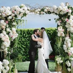 White and pink ceremony structure // Hidden Garden Floral Design // Amy & Stuart Photography