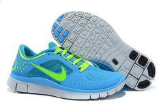 sports shoes 6e448 5cf56 Blue Glow Electric Yellow Nike Free Run 3 Women s Running Shoes