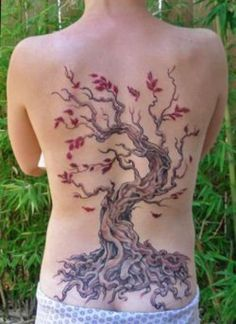 Full back Cherry Blossom Tree Tattoo