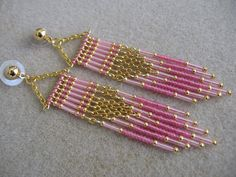 SALE - Seed Bead Chain Earrings - Modern Native American Style - Pink