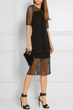 Black crepe de chine and crocheted lace Concealed hook and zip fastening at back 100% polyester; lining: 100% polyester; trim1: 100% cotton; trim2: 100% silk Dry clean Imported