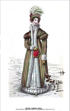 1818 Regency Fashion Plate  - Winter Carriage Dress (La Belle Assemblee Magazine) by CharmaineZoe, via Flickr