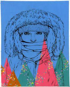"""Snowbunny""  acrylic painting"