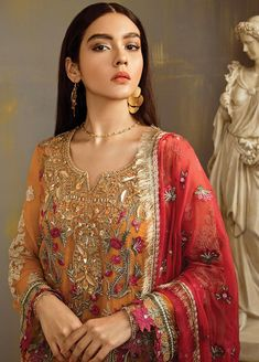 Chiffon thread embroidered dress in saffron yellow color is presented for party and casual wear. Chiffon thread embroidered dress in USA with fast delivery Pakistani Salwar Kameez, Patiala, Pakistani Mehndi, Pakistani Bridal, Indian Bridal, Chiffon Fabric, Chiffon Dress, Chiffon Shirt, Pakistani Formal Dresses