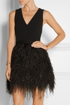 Alice + Olivia Feather-Embellished Mini Dress