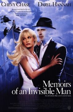 Memoirs of an Invisible Man -Another John Carpenter classic shot in San Francisco. An inventive retelling of The Invisible Man story. Chevy Chase at his best. 90s Movies, Funny Movies, Great Movies, Latest Movies, Tv Show Music, Film Music Books, Sci Fi Films, Comedy Movies, Love Movie