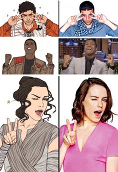 Poe, Finn, Rey and their actors #swfunny #swcute I LOVE THIS!