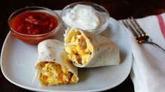 Made the night before and baked the next morning, these breakfast burritos filled with pork sausage use Old El Paso salsa and flour tortillas to save time without sacrificing taste.
