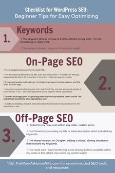 Checklist for WordPress SEO: Beginner Tips for Easy Optimizing | The Work at Home Wife
