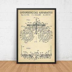 Optometrical Instrument Patent Print, optische proces Frame digitale Download, Eye Clinic Decor, oogarts Gift, opticien, optometrie Wall Art