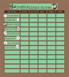 Chore charts - layout for 5 kids
