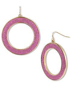 Betsey Johnson Earrings, Gold Tone Fuchsia Glitter Hoop Earrings