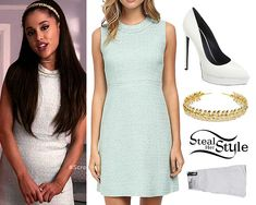 """Ariana Grande appeared as Chanel #2 in the episode """"Pilot"""" of Scream Queens on FOX, wearing a Kate Spade Sequin Tweed A Line Dress ($314.99), the same as Chanel #1's (played by Emma Roberts), an Ellen Hunter Daphne Band ($165.00), her American Apparel Opaque Over-The-Knee Socks ($13.00) and her Saint Laurent Janis Pumps ($775.00) in White, which she also wears with another outfit in this episode.  You can get similar pumps for less from Aldo ($31.56+)."""