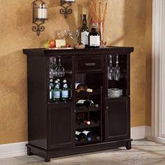 Tuscan Expandable Wine Bar Espresso impressive 12 wine slots drawer 2 shelves #Tuscan