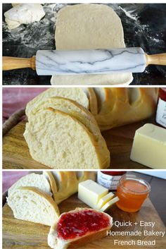 Homemade French Bakery Bread in minutes. This bread is easy and foolproof. I've seen 7 year old kids master this bread recipe on their own. It takes a little over an hour for hot, fresh homemade bread straight from the oven.