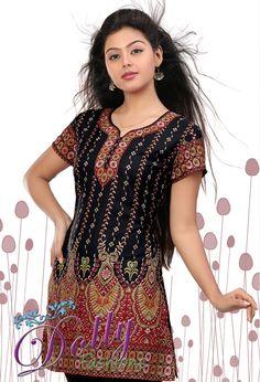 New Black Crepe Printed Kurti/ Indian Tunic Top