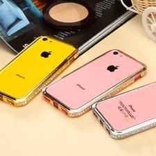 Luxury Bling Crystal Diamond Rhinestone Metal Bumper Frame Case For i Phone 5C
