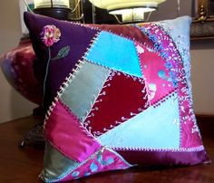 Hand Pieced Crazy Quilt Pillow Vintage & New Fabrics Silk Cotton Velvet Hand Dyed, Embroidered Highly Decorative Some Metallic Threads Beads...