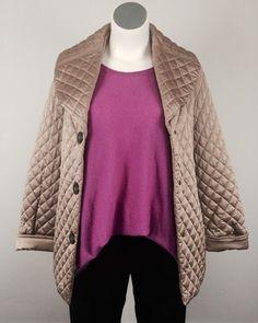 Jones New York Signature XL Champagne Gold Bronze Quilted Coat Jacket Plus Size #JonesNewYork #BasicCoat